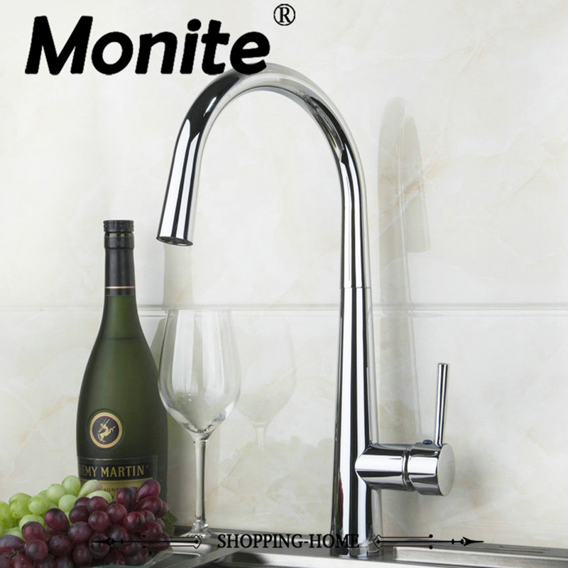 Polished Chrome Kitchen Faucet Swivel 360 Deck Mounted Single Hole Water Mixer Tap Cozinha Torneira polished chrome deck mounted bathroom kitchen faucet tap single handle with brass soap dispenser