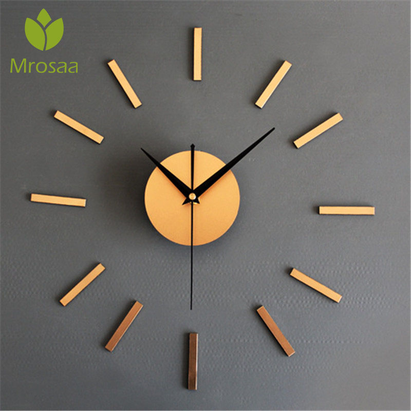 2019New Arrival Home Decoration Wall Clock Modern Design Fashion Clocks For Living Rooms Metal Fashion Self Adhesive Wall Clocks