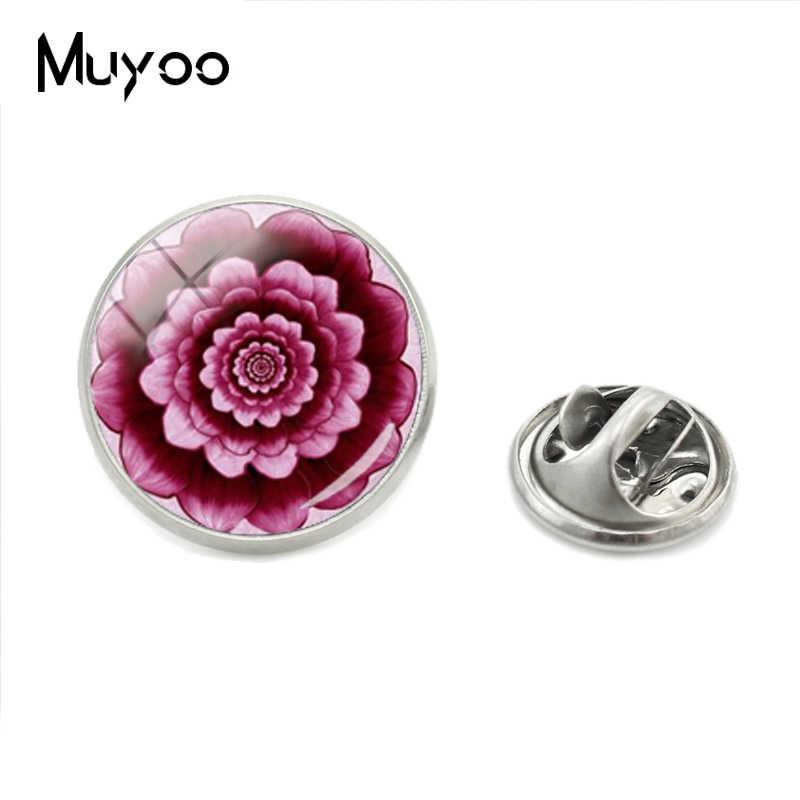 Baru Fashion Kaca Perhiasan Perak Kerah Pin Bunga Kehidupan Kerah Pin Bros Kerajinan Tangan Bulat Cabochon Pin Perak Perhiasan hadiah