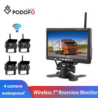 Podofo Wireless 4 Backup Cameras Parking Assistance IR Night Vision Waterproof with 7 Rearview Monitor for RV Truck Trailer Bus