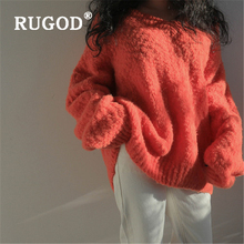 RUGOD Elegant Loose solid sweater women Korean loose V neck soft female abrigos mujer invierno 2019 Auturm warm coat