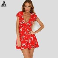 2017 Women V Neck Chiffon Red Mini Dress Summer Women Sexy Floral Print Vesitidos Leotard Boho