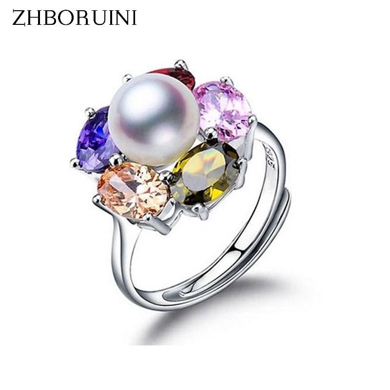 ZHBORUINI 2017 Mode Perle Ring Schmuck Von Silber Farbe Blume Ring Süßwasser Perle Ringe 925 Sterling Silber Ring Für Frauen