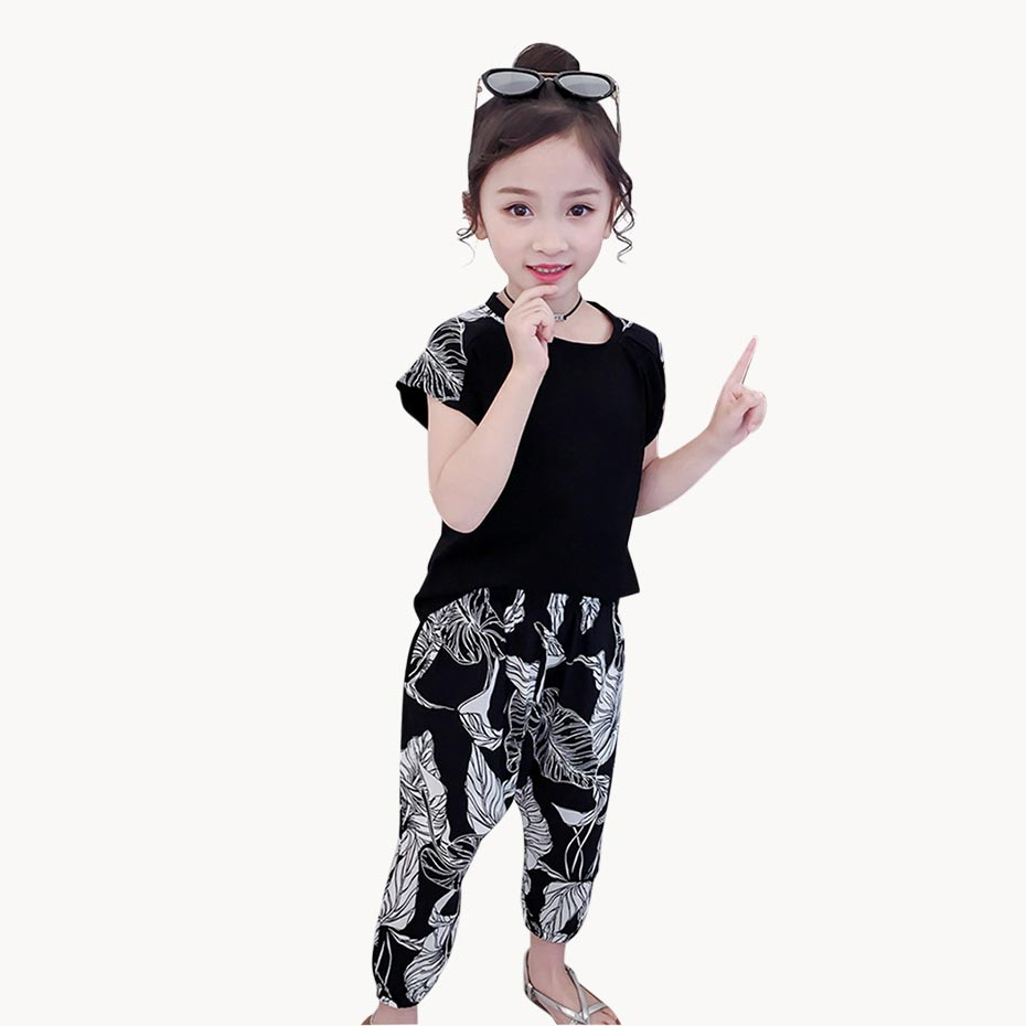 Girls Summer Clothes T Shirt + Floral Short 2PCS Girls Clothing Set Teenage Kids Girls Clothing 6 8 10 12 13 14 Year(China)