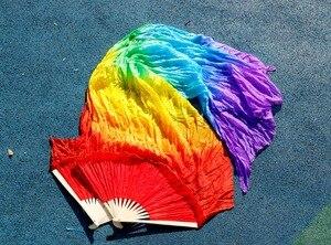 Image 5 - 2016 Hot sale women 100% real silk belly dance fan veils of belly dance fans rainbow color 180*90cm