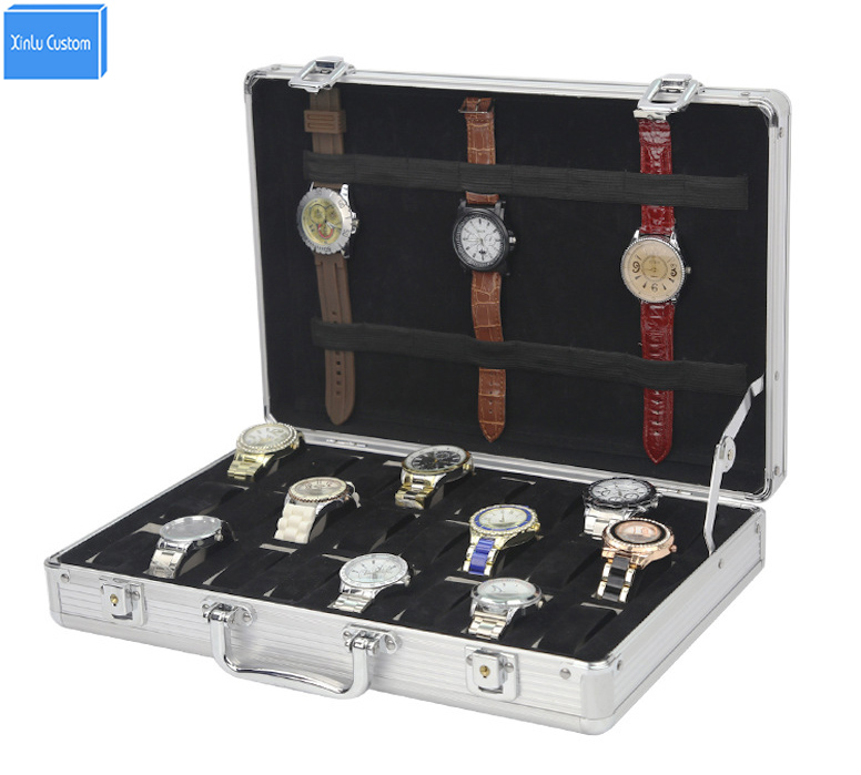 Special for watch store/retail collect display storage use aluminum 24 organizer jewelry&watch travel case with lock key WBG1082 travel aluminum blue dji mavic pro storage bag case box suitcase for drone battery remote controller accessories