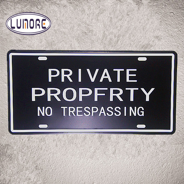 Private Property No Trespassing Metal Tin Signs Shabby Chic Car