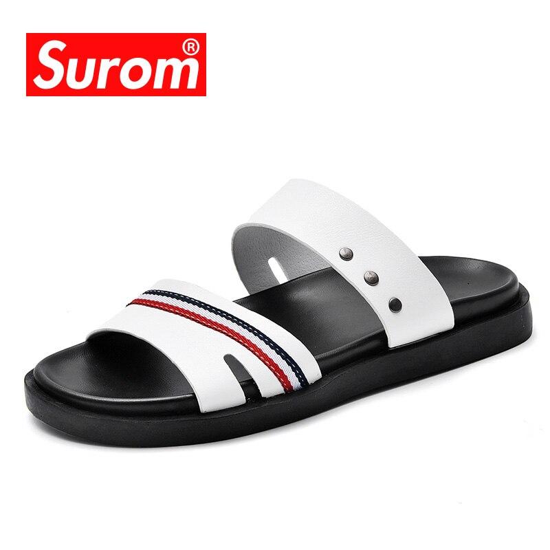 SUROM Men Sandals Summer Shoes Men Beach Sandals Brand Male Casual Shoes Flip Flops Microfiber Leather Sneakers Men Slippers