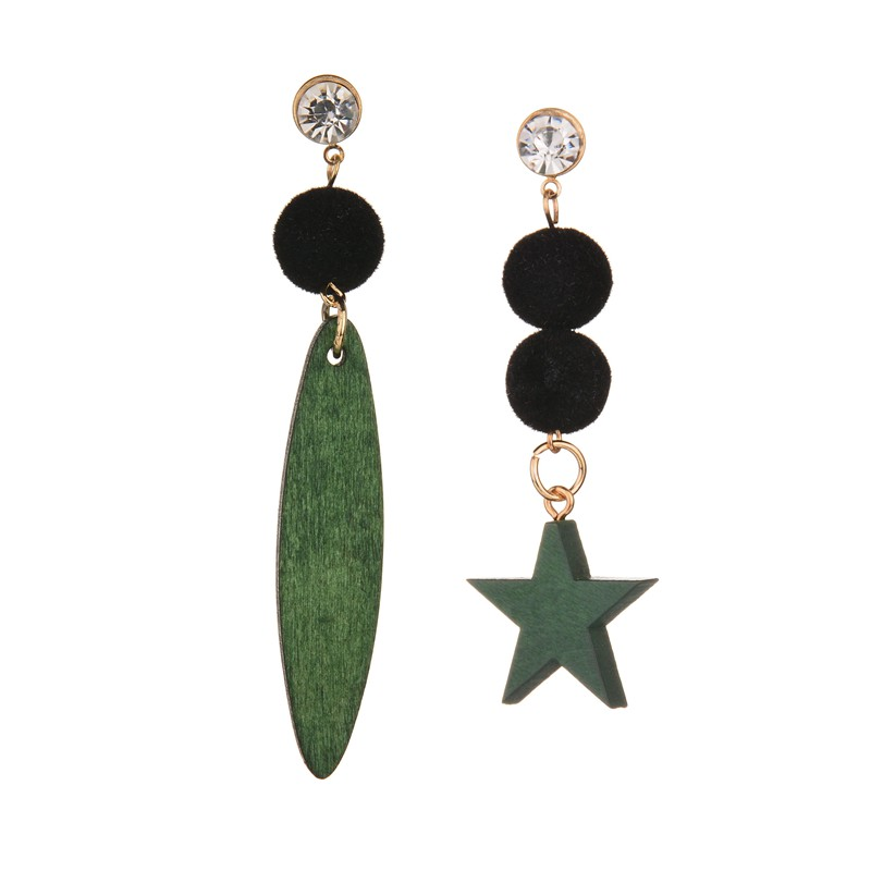MissCyCy Popular Asymmetry Green Wood Star Drop Earrings For Women Rhinestone Plush Ball Hanging Earrings Fashion Jewelry