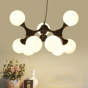 Креативный стеклянный шар подвесной светильник молекулярная структура Волшебная бобовая Подвесная лампа для столовой подвесное освещени...