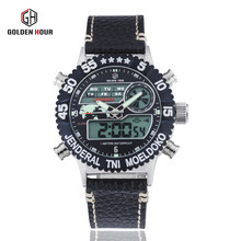 TOP Luxury Brand Dive LED Watches Men Military Sports Watches Leather Quartz Watch Men 24hours Wristwatches Relogio Masculino