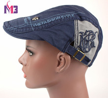 New Cotton Beret Cap For Men Casual Peaked Caps Grid Letters Embroidery Hats Casquette Flat