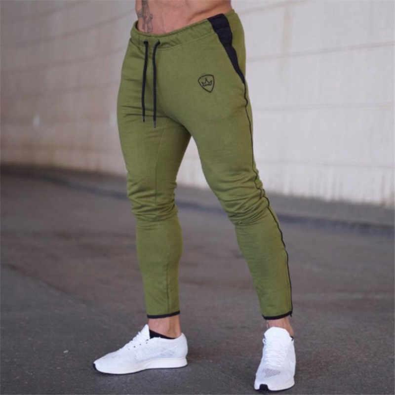 Мужские спортивные штаны YEMEKE, повседневные эластичные обтягивающие штаны из хлопка для фитнеса, джоггеры, 2020