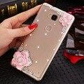 07 luxo 3d flor de cristal bling do diamante escudo do telefone móvel tampa traseira soft case para zte blade v7 lite