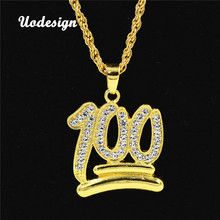 Фотография Uodesign Hip Hop Charm Pendants Rock Jewelry Gift Number 100 Bling necklaces for men