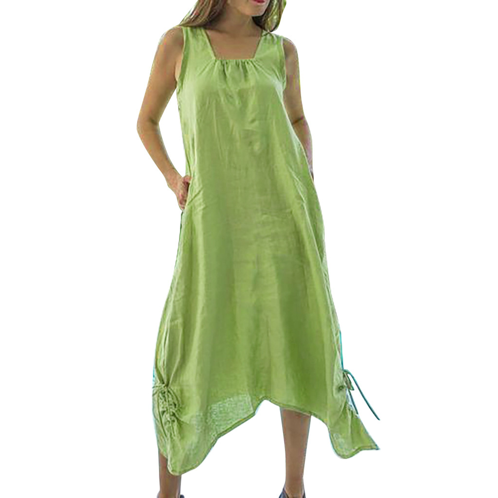 High Quality Ladies Large Size Solid Sleeveless Straps Cotton Linen Dress Summer Loose Comfortable Outdoor Beach Bohemian Dress