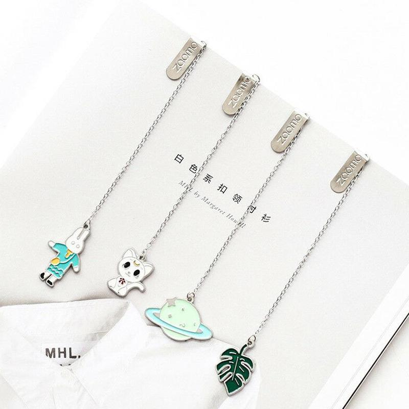 Kawaii Cartoon Animals Metal Meterial Unicorn Bookmarks For Books Student Stationery School Supply Paper Clip Backpack Pendant