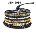 Natural stone beads bracelet handmade leather multilayer bracelets & bangles wristband cuff bracelet for men JBN-9054