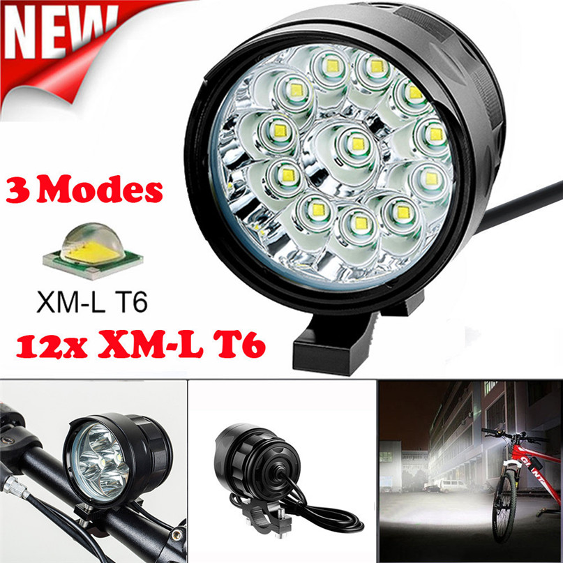 12x T6 LED 3 Modes Waterproof 8.4V 15000mAh Battery Rechargeable MTB Front Light Bike XPG LED Headlight #2g27 (2)