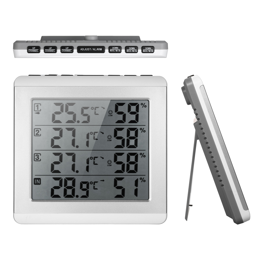 LCD Digital Wireless IndoorOutdoor Thermometer Hygrometer Four-channel Temperature Humidity Meter with Transmitter Comfort Level digital thermometer hygrometer temperature humidity meter alarm clock max min value comfort level display