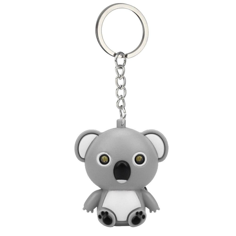 New Fashion Cute Cartoon Mini Koala Keychain With LED Light  Sound Kids Toy Gift Decorate For Phone Case Wallet Key Z0503