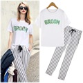 Summer Leisure Suit ,Striped  trousers+Round neck short sleeve Letter Print T-shirt suit for women Fashion Casual Women's Suits