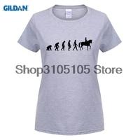GILDAN Women Fashion Brand T Shirt 100 Cotton Horse Riding Evolution Women S T Shirt Top