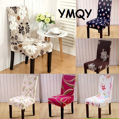1 Piece Floral Print Chair Cover Spandex Home Dining Elastic Hotel Wedding Chair  Covers Universal Stretch Protector Slipcover
