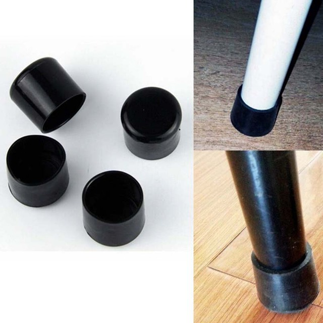 Black 22mm Chair Leg Caps Pvc Plastic Feet Protector Pads Furniture Table Covers Round Bottom 4pcs