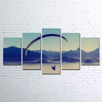HD Prints Canvas Pictures 5 Pieces High Altitude Jumps Paintings For Living Room Home Decor Skydiving
