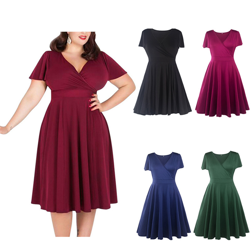 Women Sexy V-neck Short Sleeve 50s Party A-line Dress Vintage Stretchy Midi Plus Size 5XL Cocktail Swing Dress