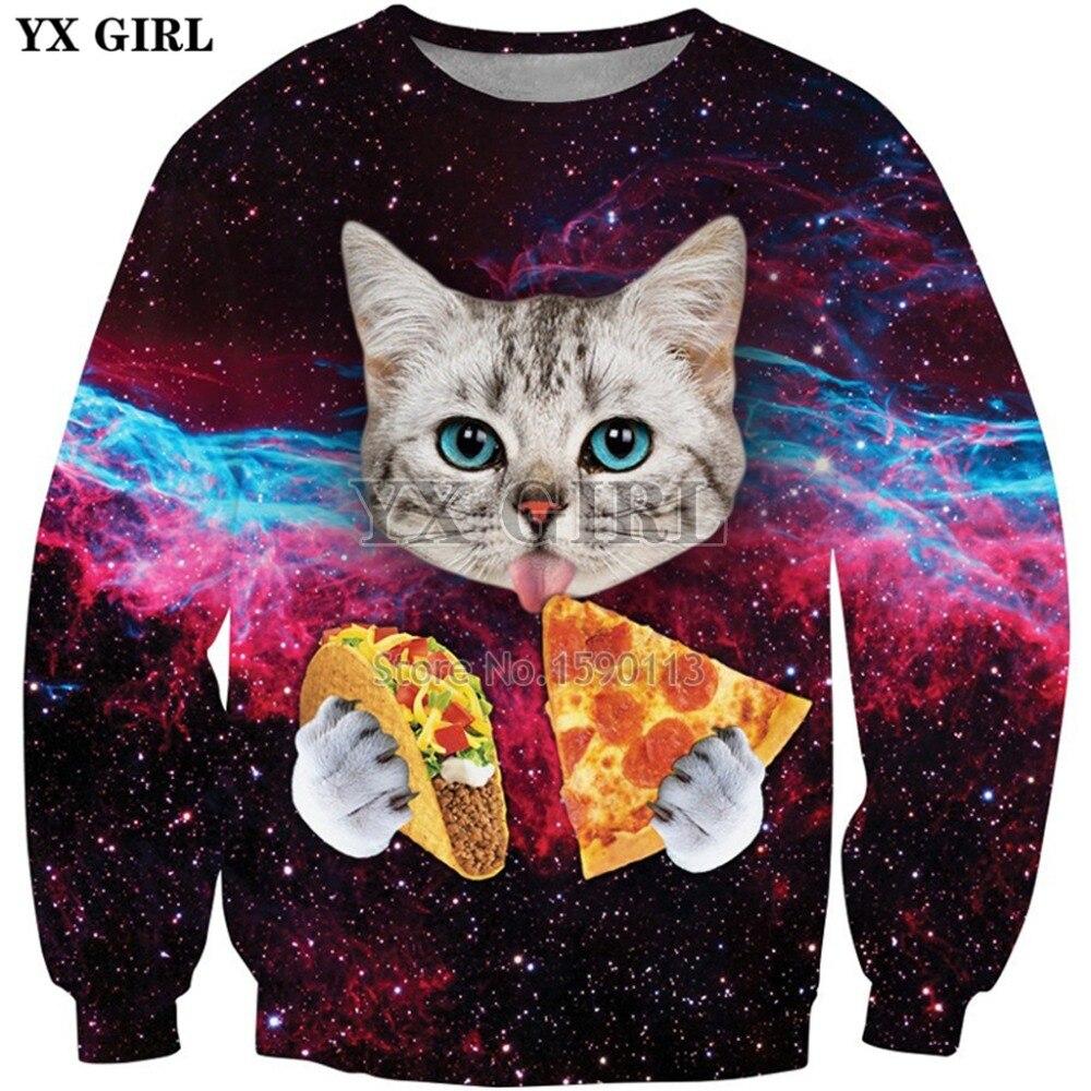 YX GIRL Galaxy Space Hoodies 2018 Fashion Men/Women Long Sleeve Outerwear Animal Cat Eats Pizza 3d Print Novelty Sweatshirts