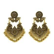 Indian Jhumka Tribal Color Bell Tassel Drop Earring Ethnic Gypsy Turkish Hollow Flower Statement Eardrop for Women Jewelry