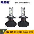 Partol S1 H4 H7 H11 H13 9005 9006 LED Coche Bombillas de Los Faros 50 W CSP Coche Faros LED, Todo en uno Luz Delantera de La Lámpara Principal 12 V 24 v