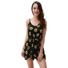 2019 New Female Fashion Printing Casual Jumpsuit Strap Summer