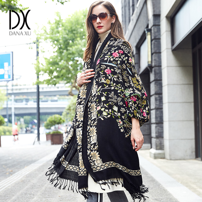 100% Wool Poncho Head Scarves Women Elegant Lady Carf And Warm Shawl Long Animal Print Stoles Bandana Scarf Hijab Luxury Brand-in Women's Scarves from Apparel Accessories