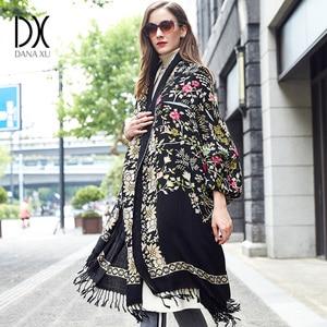 Image 1 - DANA XU Bufanda Mujer Wolle Poncho Kopf Schals Frauen Elegante Dame Carf Und Warme Schal Stola Bandana Schal Hijab Luxus marke