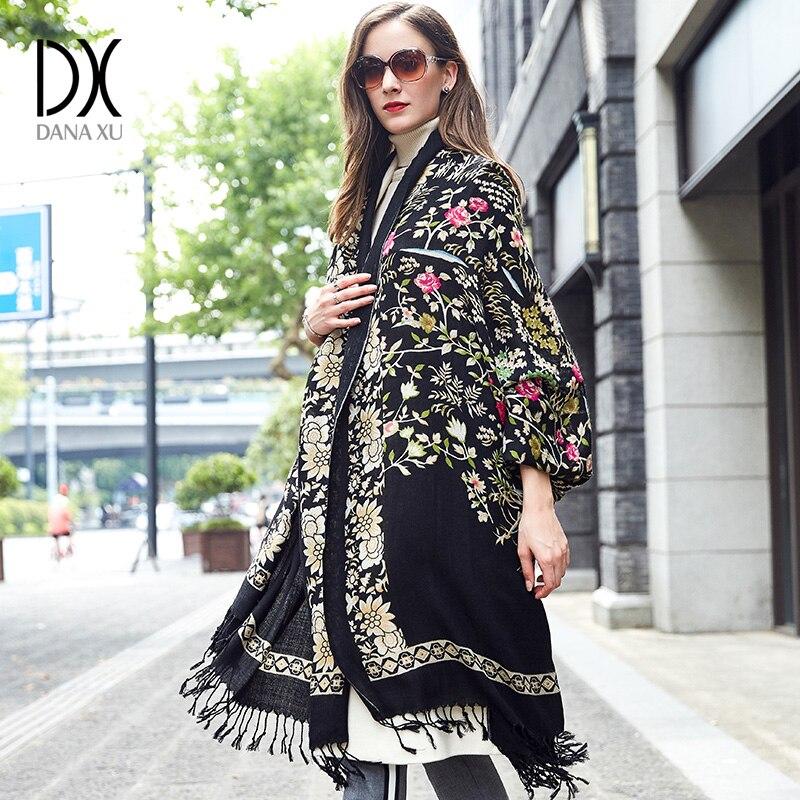 DANA XU Bufanda Mujer Wool Poncho Head Scarves Women Elegant Lady Carf And Warm Shawl Stoles Bandana Scarf Hijab Luxury Brand