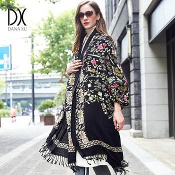 DANA XU Bufanda Mujer Wool Poncho Head Scarves Women Elegant Lady Carf And Warm Shawl