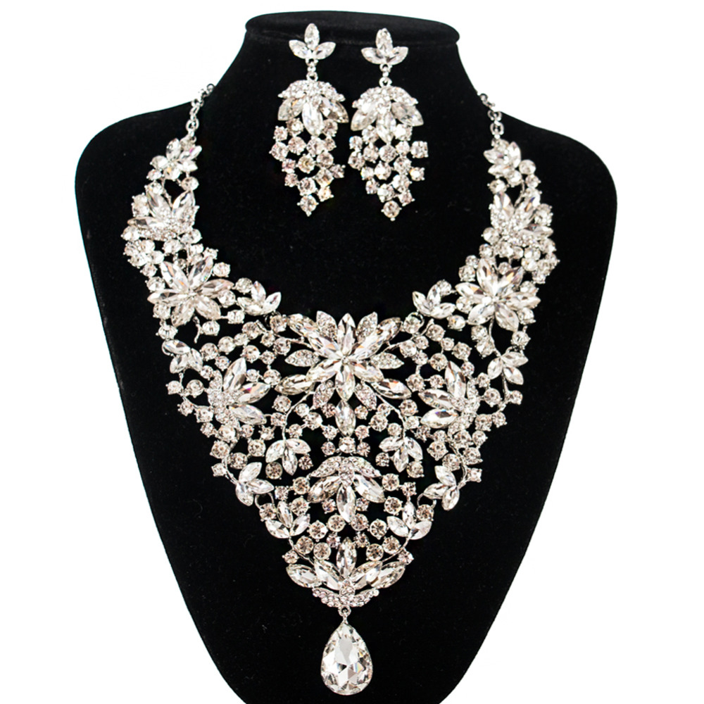 2018 LAN PALACE 2019 new wedding necklace and earrings glass  Bridal Jewelry Sets America  flower festival gifts free shipping