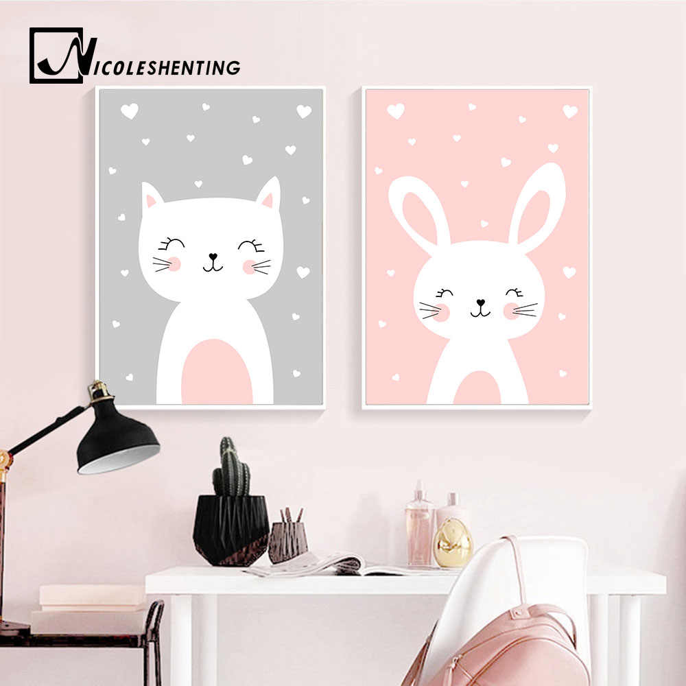 Kawaii Wall Art Canvas Nursery Poster Print Cartoon Cat Rabbit Painting Nordic Kids Decoration Picture Baby Living Room Decor