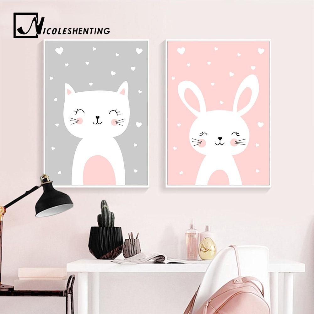 Kawaii Wall Art Холст постер для детской комнаты принт мультфильм кошка кролик Живопись скандинавские украшения для детей Картина декор для детск...
