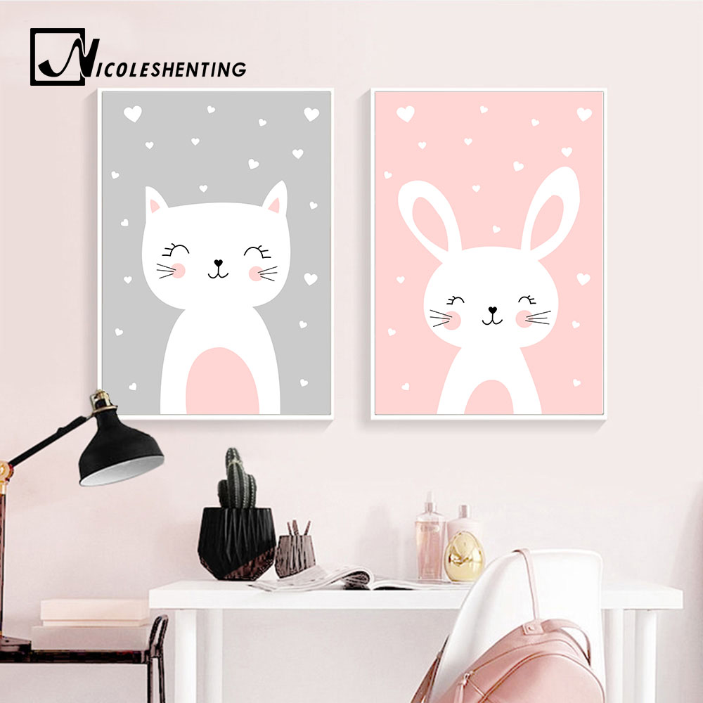 Kawaii Wall Art Canvas Nursery Poster Print Cartoon Cat Rabbit Painting Nordic Kids Decoration Picture Baby Living Room Decor