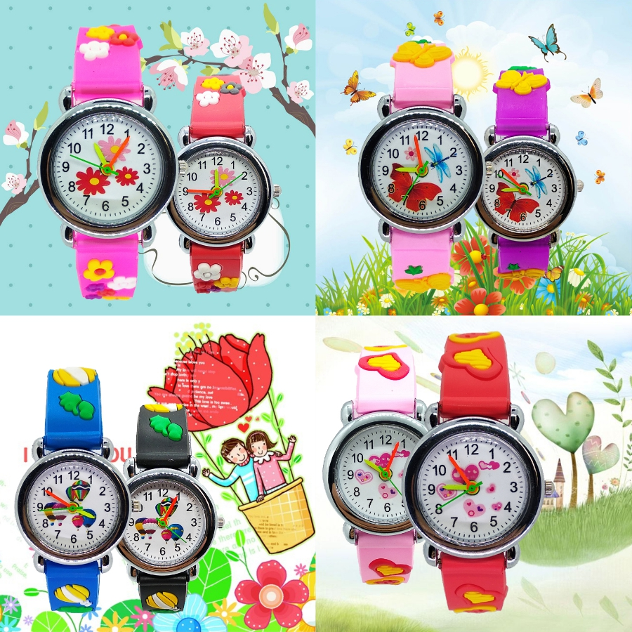 Butterfly Flowers Kids Watches Children Watch 3D Rubber Quartz Wristwatch For Girls Boys Clock Gift Montre Enfant Reloj Infantil