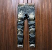 European American Style marque de mode de coton hommes jeans de luxe Hommes casual denim pantalon zipper Slim bleu rayures jeans pour hommes
