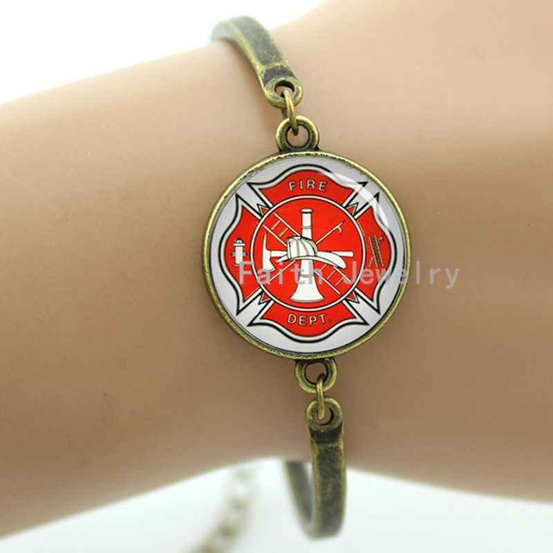 Cruz maltesa bombeiros símbolo de, personalizado bombeiro pulseira, 2016 moda feminina jóias-914