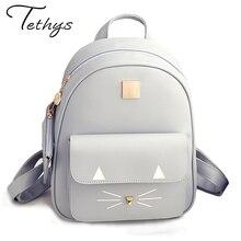 Лидер продаж Кот Печать Рюкзак из искусственной кожи мини-рюкзаки женские школьные сумки для девочек-подростков сумки дети рюкзак Mochilas Sac