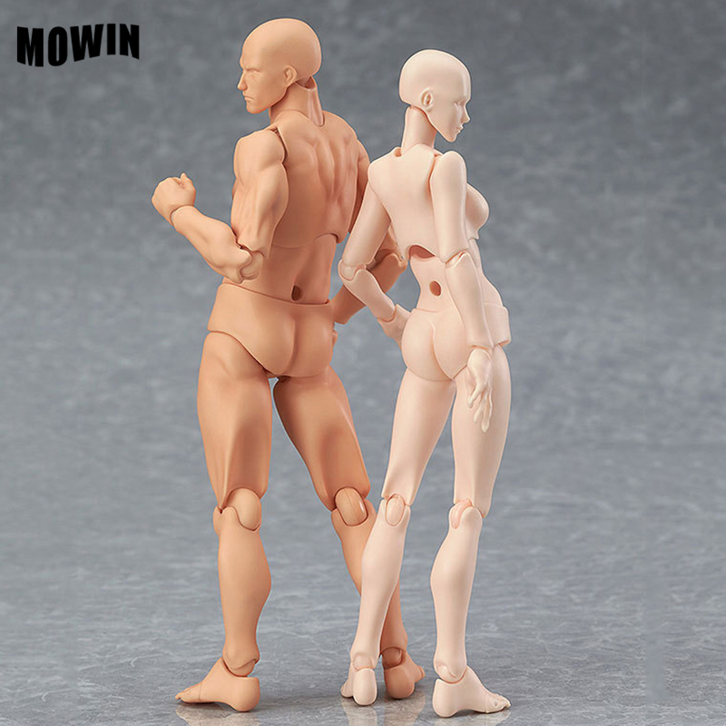 MOWIN Male Female Model Movable Joint Action Figure Toy Rotat Puppet Jointed Mannequin Table Deco Painting tools Rod End Reality new 1pc right left hand wooden model sketching drawing jointed movable fingers mannequin