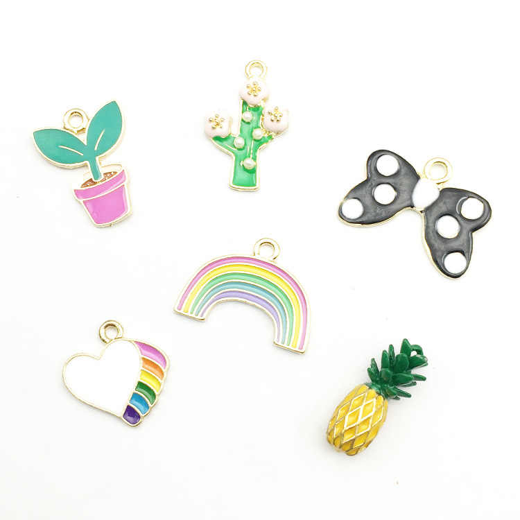 10pcs DIY gold metal enamel color cactus rainbow heart charms pineapple bracelet pendants for necklace earring jewelry making