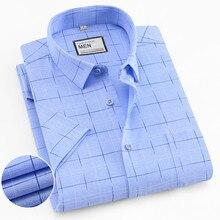korean Fashion Short Sleeve Shirt Men Streetwear Plaid Slim Fit Easy Care Mens Dress Shirts Casual Plus Size